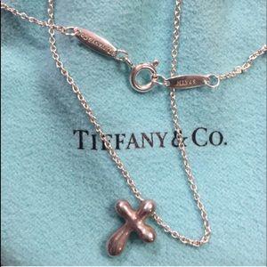 """Tiffany Peretti 325 silver cross 16"""" silver chain"""